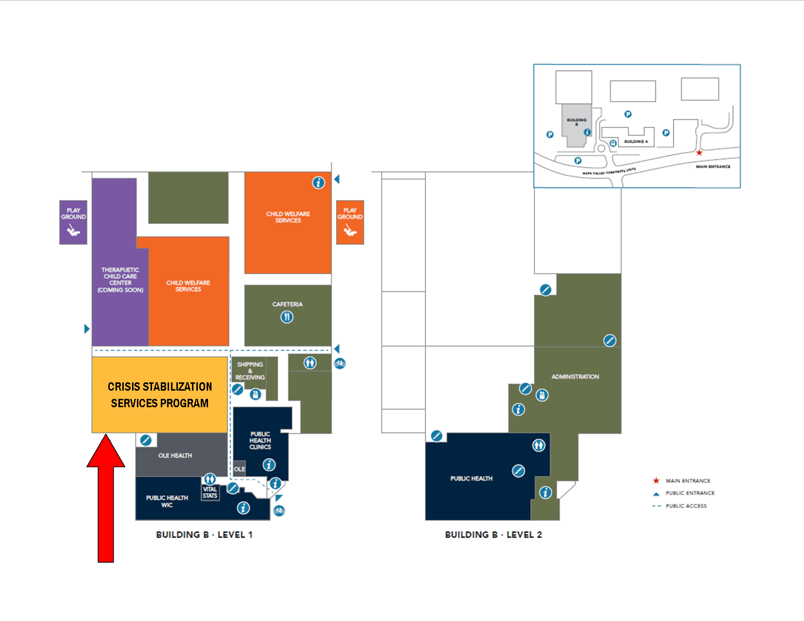 Crisis Stabilization Services Map of building and rooms