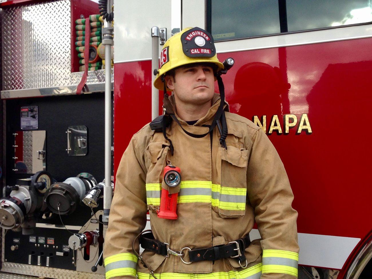 Face of a Napa County firefighter dressed in bunker gear
