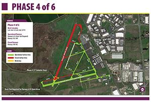 Linked image of map for phase 4 of Napa County Airport's runway rehabilitation project